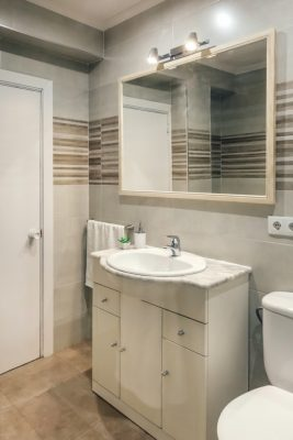 Bathroom interior with sink and toilet