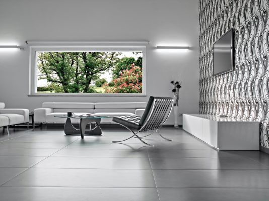 Interiors of a Modern Living Room with a Large Window
