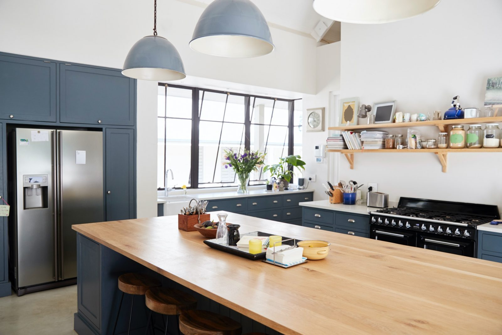 Kitchen island in a large family kitchen
