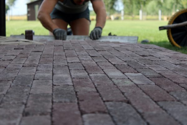 Man on his knees paving brick floorings in the garden creating a terrace