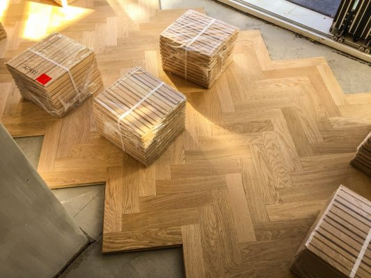 Wood parquet flooring being fixed
